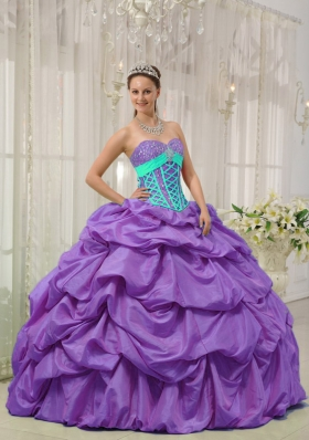 2014 Lavender Puffy Sweetheart Beading and Pick-ups Quinceanera Dresses