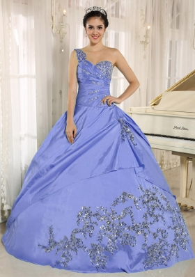 2014 Pretty Purple Quinceanera Dress One Shoulder With Appliques and Beading