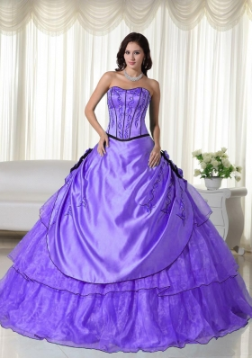 2014 Puffy Strapless Beading Quinceanera Dresses with Hand Made Flower