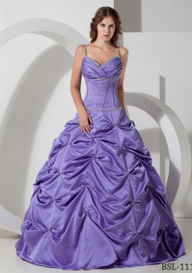 Beautiful Princess Spaghetti Straps with Beading Quinceanera Dress for 2014