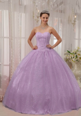 Brand New Lavender Sweetheart Beading Puffy Quinceanera Dresses for 2014
