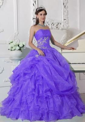 Elegant Strapless Beading Quinceanera Dress for 2014 Spring