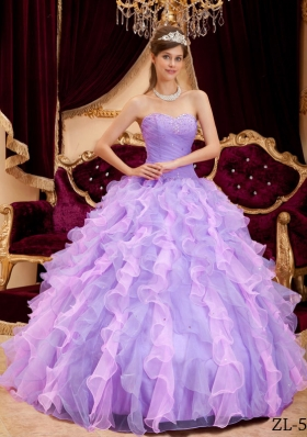 Fashionable Lavender Sweetheart 2014 Beading Quinceanera Dresses with Ruffles