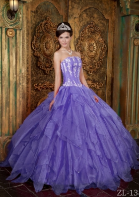 Gorgeous Puffy Strapless 2014 Appliques Quinceanera Dresses with Ruffles