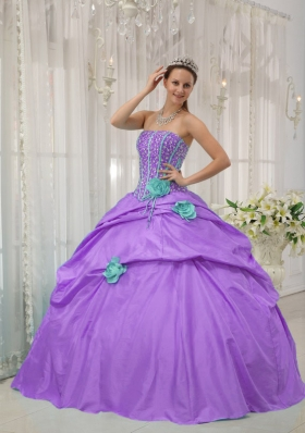 Lavender Strapless Beading and Hand Made Flowers 2014 Quinceanera Dresses