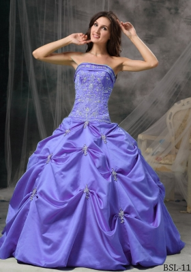 Modest Puffy Strapless Beading Quinceanera Dresses for 2014