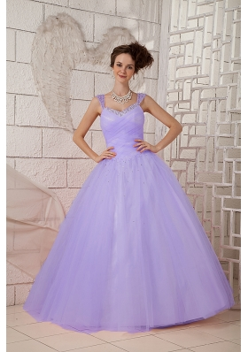 Most Popular Lavender Puffy Straps Beading Quinceanea Dresses for 2014