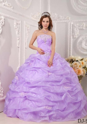 Pretty Exclusive Puffy Strapless 2014 Appliques Lavender Quinceanera Dresses