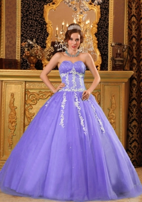 Puffy Sweetheart Appliques Lavender for 2014 Quinceanera Dresses