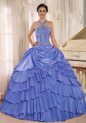 2014 Halter Pleat Quinceanera Dresses With Beaded Bodice