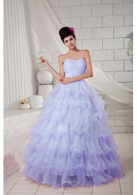 2014 Spring Lilac Puffy Sweetheart Beading Quinceanea Dresses