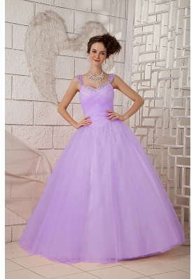 2014 Spring Pretty Puffy Straps Beading Quinceanea Dresses
