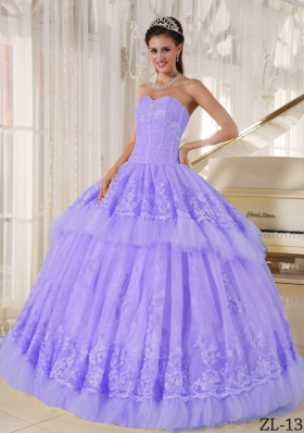 Beautiful Ball Gown Sweetheart Lace Appliques Quinceanera Dresses for 2014