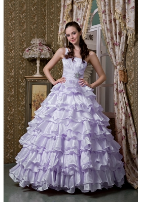 Brand New Lilac Princess One Shoulder Beading Ruffled Layers 2014 Quinceanea Dresses