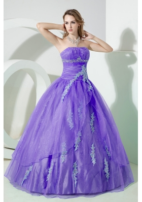 Lavender Puffy Strapless Beading and Embroidery Quinceanera Dresses for 2014