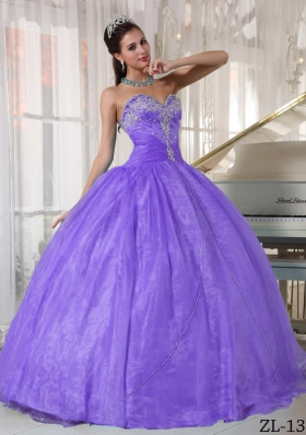 Lavender Puffy Sweetheart Beading and Appliques Quinceanera Dress for 2014