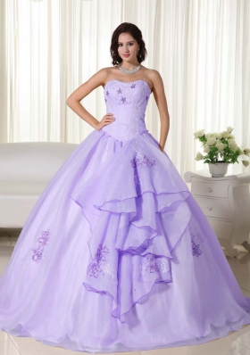 Most Popular Lavender Puffy Strapless Embroidery Quinceanera Dresses for 2014