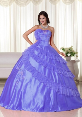 Popular Puffy Strapless 2014 Embroidery Quinceanera Dresses with Appliques