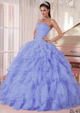 Pretty Puffy Strapless 2014 Beading Lavender Quinceanera Dress with Ruffles
