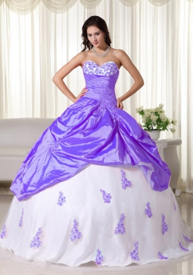 Puffy Sweetheart 2014 Spring Appliques Quinceanera Dresses with Pick-ups