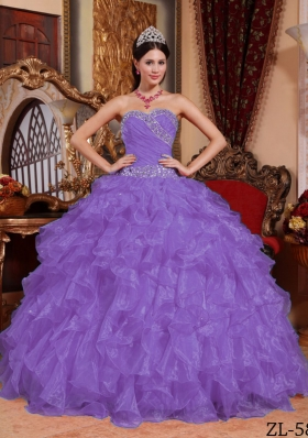 Puffy Sweetheart 2014 Spring Beading Quinceanera Dresses with Ruffles