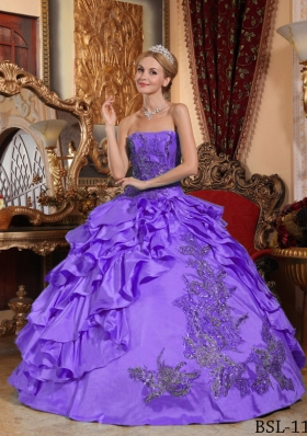 Super Hot Puffy Strapless Ruffles and Appliques 2014 Quinceanera Dresses