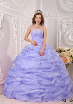 Exclusive Puffy Strapless Appliques Lilac for 2014 Quinceanera Dresses