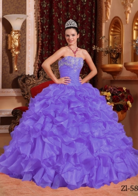 New Style Puffy Strapless Beading and Appliques Quinceanera Dresses for 2014