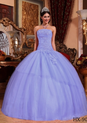 2014 Lavender Puffy Strapless Appliques Beading Quinceanera Dresses