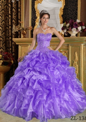 2014 Lavender Puffy Sweetheart Ruffles Quinceanera Dresses with Beading