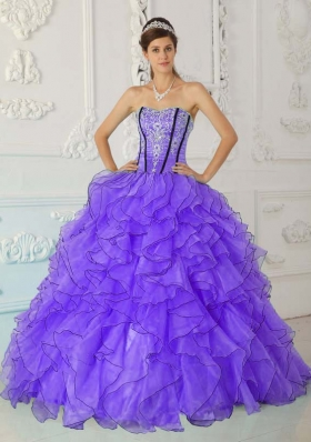 2014 Pretty Puffy Strapless Appliques Quinceanera Dresses