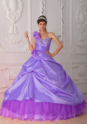 2014 Puffy One Shoulder Beading and Hand Flower Quinceanera Dresses