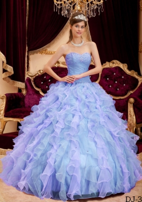 2014 Puffy Sweetheart Beading Quinceanera Dresses with Ruffles