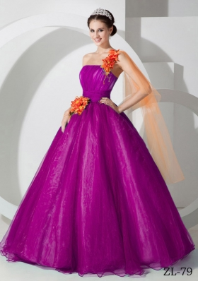 A-line One Shoulder Floor-length Organza Hand Made Flowers Prom Dress