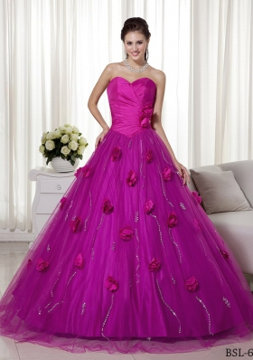 A-line Sweetheart Brush Train Tulle and Taffeta Hand Made Flowers Prom Dress