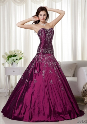 A-line Sweetheart Floor-length Taffeta Beading and Embroidery Quinceanera Dress