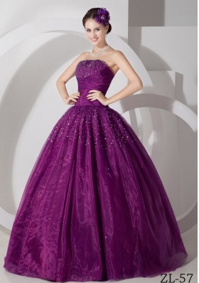 A-line Sweetheart Tulle Quinceanera Dress with Ruching and Beading