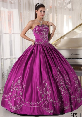 Ball Gown Strapless Floor-length Satin Embroidery Quinceanera Dress