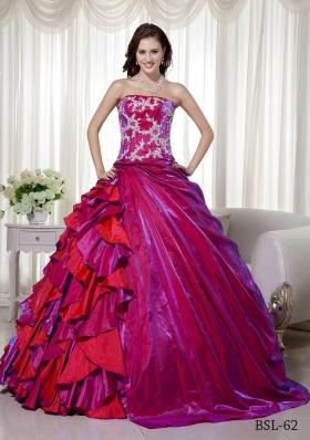 Ball Gown Strapless Floor-length Taffeta Appliques Quinceanera Dress