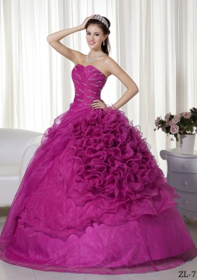 Ball Gown Sweetheart Floor-length Organza Beading and Ruch Quinceanera Dress