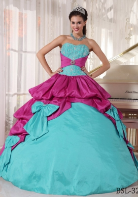 Ball Gown Sweetheart Floor-length Taffeta Appliques Quinceanera Dress