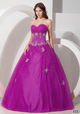 Ball Gown Sweetheart Floor-length Tulle Appliques and Beading Quinceanera Dress