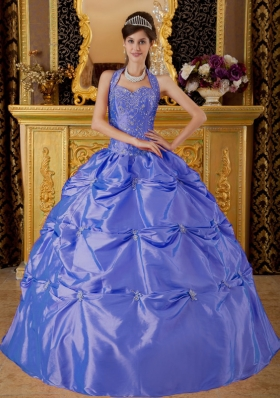 Beautiful Puffy Halter 2014 Appliques Quinceanera Dresses with Pick-ups