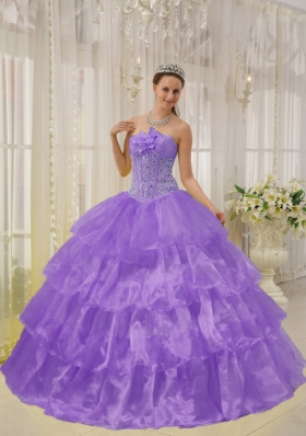 Classical Puffy Strapless Ruffled Layers Beading 2014 Quinceanera Dresses
