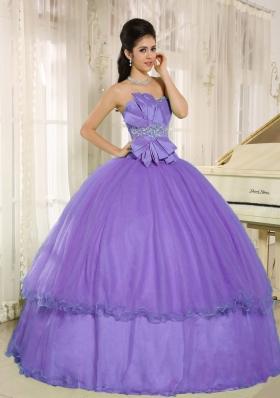 Elegant Beading and Bowknot 2014 Lavender Quinceanera Dresses