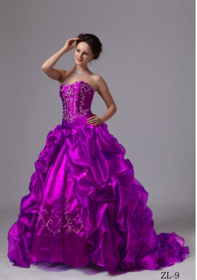 Embroider and Pick-ups Sweep Train For Quinceanera Dress For Custom Made