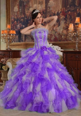 Exclusive Puffy Strapless 2014 Quinceanera Dresses with Appliques