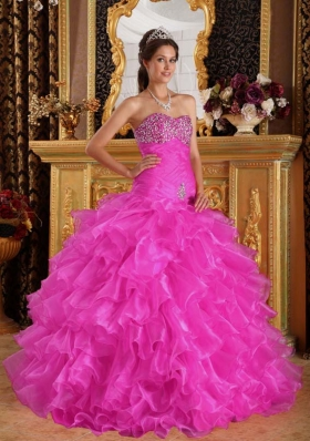 Exclusive Sweetheart Organza Beaded Decorate Bust Quinceanera Dress