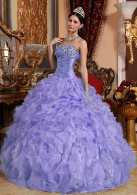 Exquisite Sweetheart Beading and Ruffles Lavender Quinceanera Dress for 2014