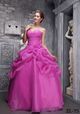 Fuchsia Ball Gown Sweethrart Floor-length Organza Beading and Ruch Quinceanera Dress